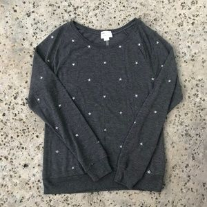 David Lerner Silver Star Embroidered Gray Pullover